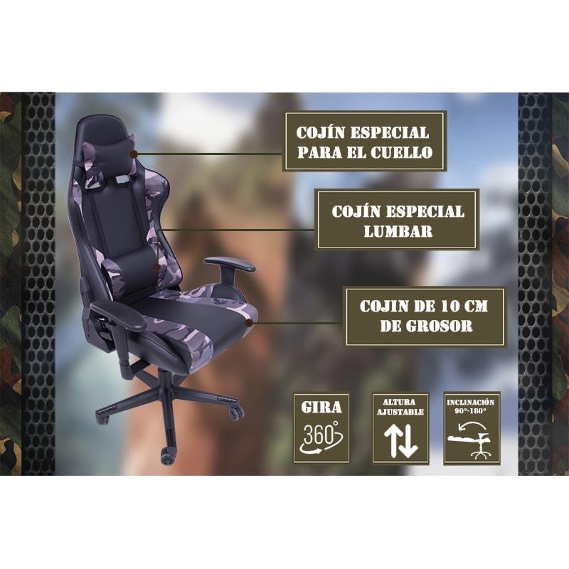 Silla Gamer Camuflaje Premium Ergonomica Reclinable 200Kg Edicion Especial Gaming Videojuegos Pc