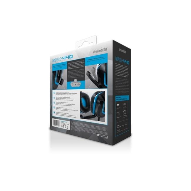 Audífonos De Diadema Con Microfono Para Videojuegos Negros con Azul Modelo GRX-440 Marca DREAMGEAR
