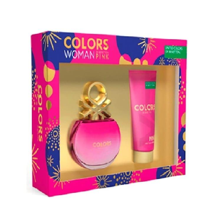 Set para dama, Benetton, Colors Pink, EDT 80 ml+ body lotion 75 ml
