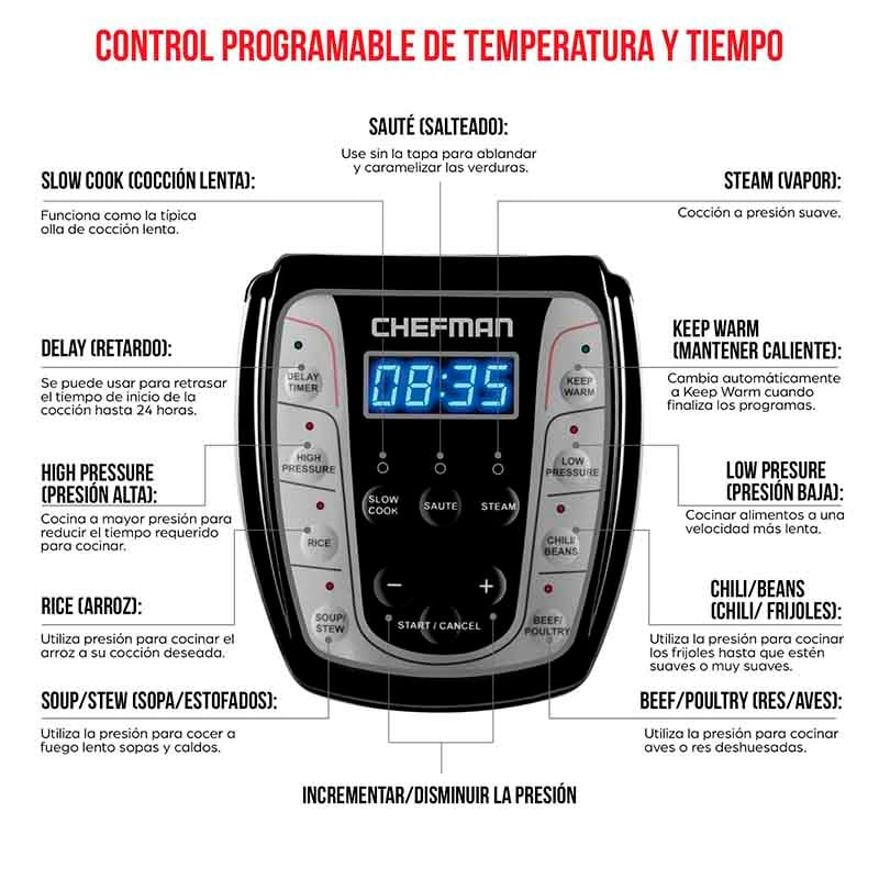 OLLA DE PRESION ELECTRICA DE 6L RJ40-6-CH 6 CHEFMAN