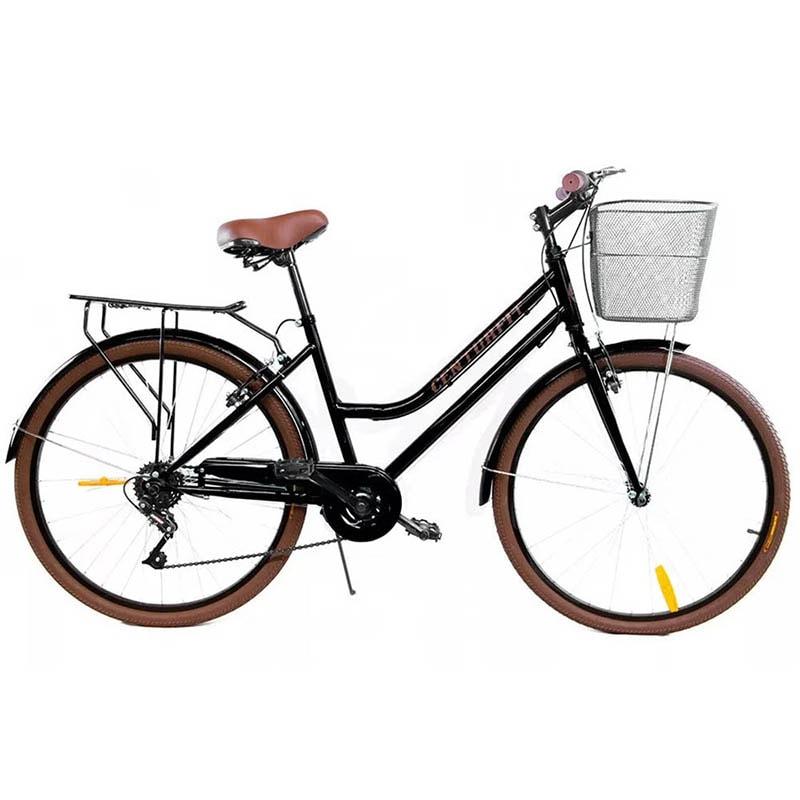 Bicicleta Vintage 6 Velocidades Freno de Mano Rodada 26 Canastilla Bici Urbana Retro Negra