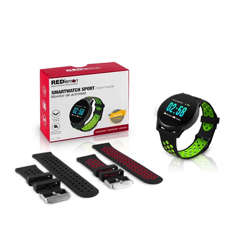 Redlemon Smartwatch Sport Bluetooth Contra Agua, 3 Correas Intercambiables