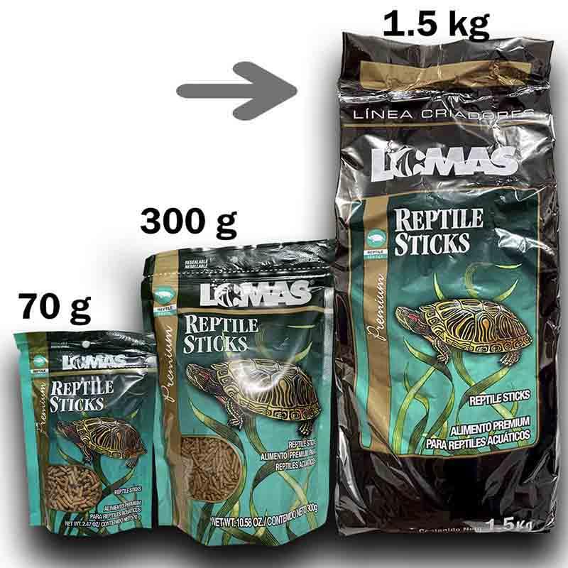 Alimento Para Tortuga De Agua Reptil Stick 1,500 Kg x 3 Pzas Churrito Lomas Antes Wardley