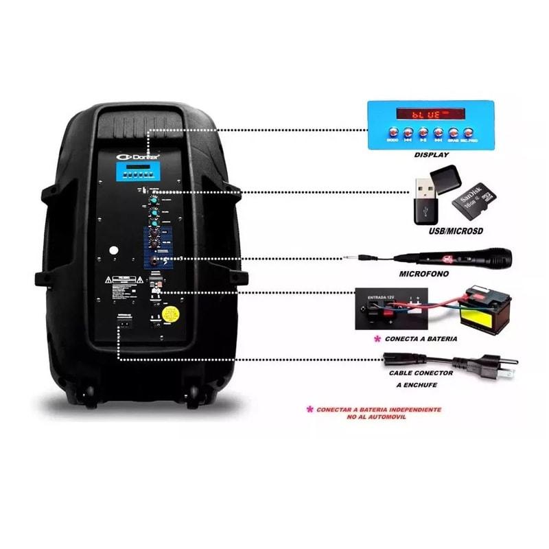 Bafle15  Donker KSR 25000w Potente Fm Control, Microfono, Bluetooth, Usb/sd