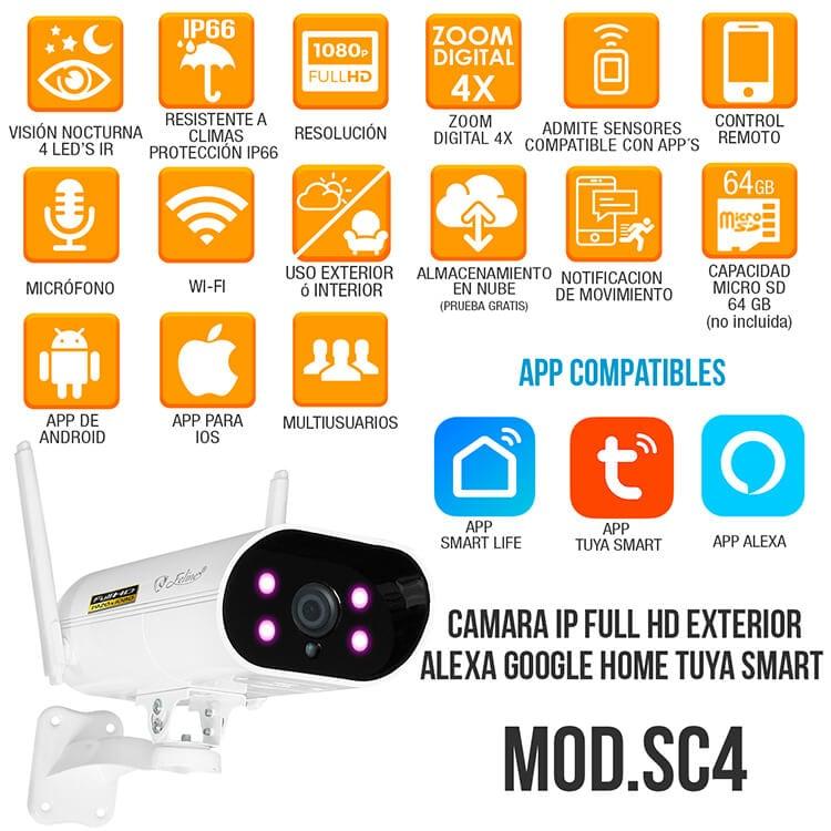 Camara Wifi Ip Exterior Full Hd Alexa Nube App Zoom Digital 4x Seguridad Casa Negocio