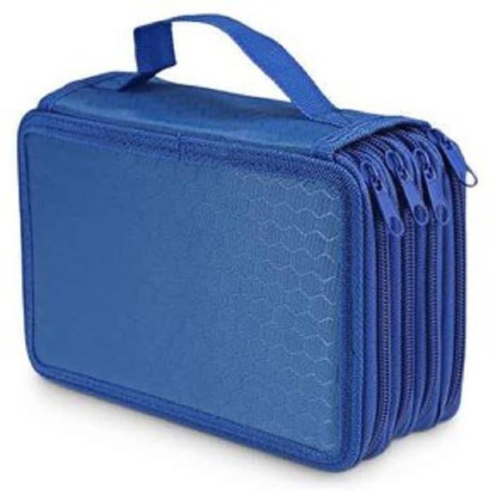 Lapicera Con Divisiones Cartucheras Organizador Estuche Para Lapices Juveniles Utiles Escolares Color Azul