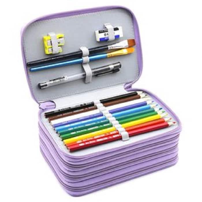 Lapicera Con Divisiones Cartucheras Organizador Estuche Para Lapices Juveniles Utiles Escolares Color Lila