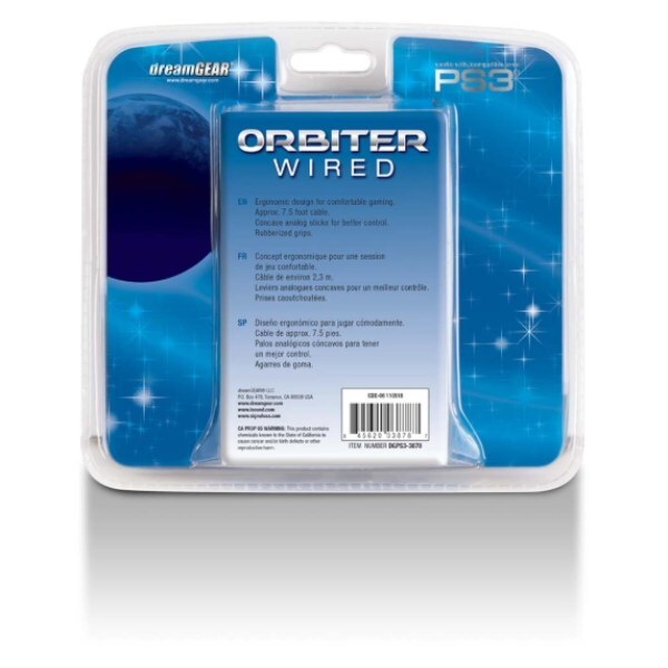Control Alámbrico Para Ps3 Negro Modelo Orbiter Wired Marca DREAMGEAR