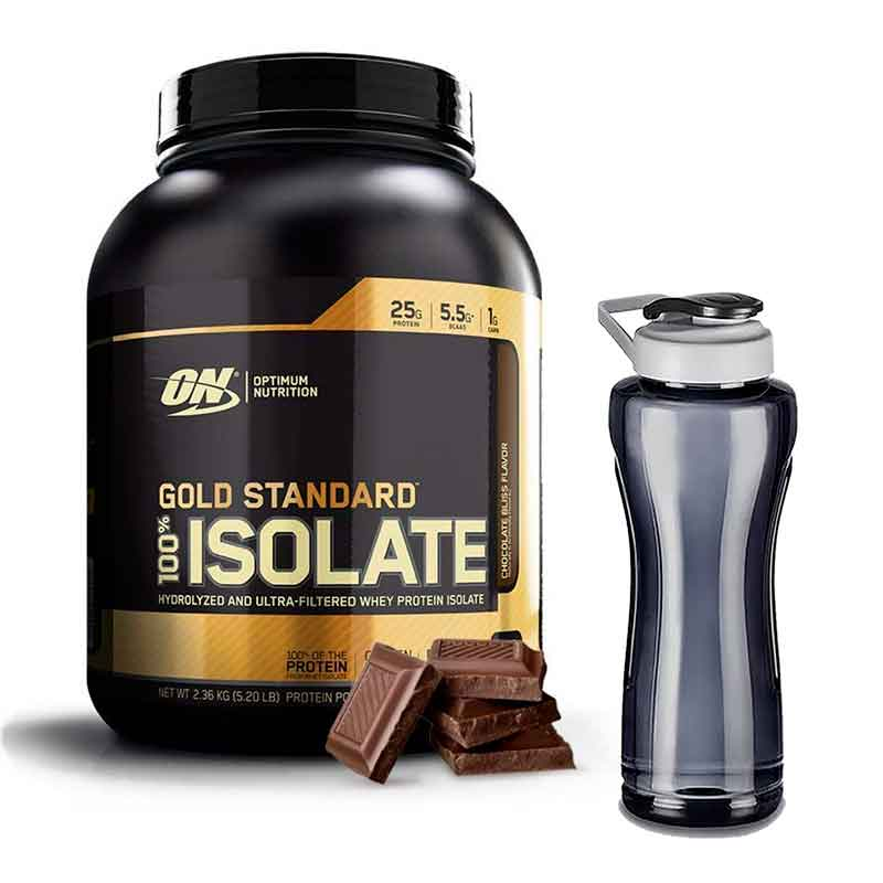 PROTEINA ON GOLD STANDARD ISOLATE 5 LBS CHOCOLATE Y CILINDRO GRATIS DE 900MLS