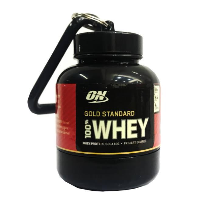 Embudo Llavero porta Proteina 30g con etiqueta ON Gold Standard 100% Whey