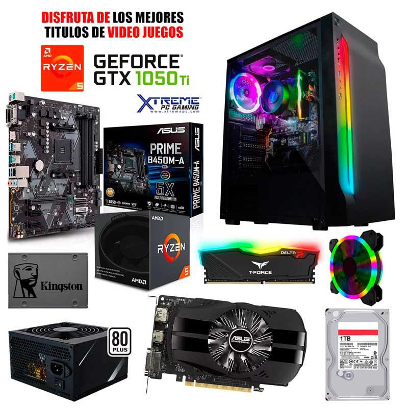Pc Gamer Xtreme Amd Ryzen 5 2600 Ram 8Gb Unidad Ssd 240Gb Disco 1Tb Nvidia Gtx 1050 Ti 4Gb