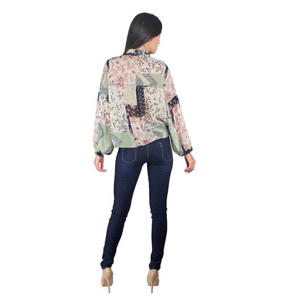 Incognita Blusa Para Mujer Con Corbata Ligera Multicolor Casual , 330391