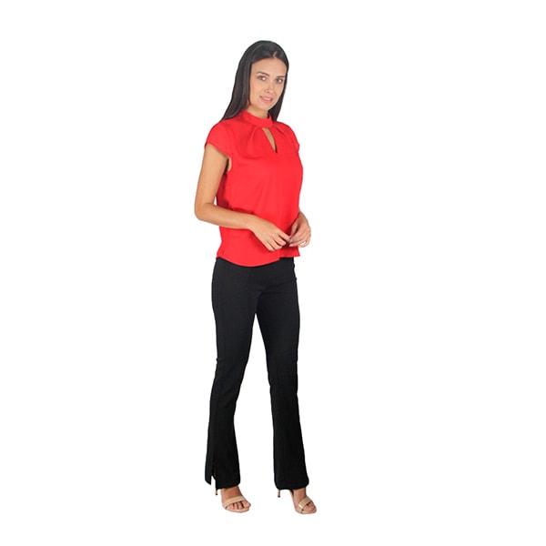 Incognita Blusa Para Mujer Manga Corta Y Abertura Casual / Formal Rojo , 550259