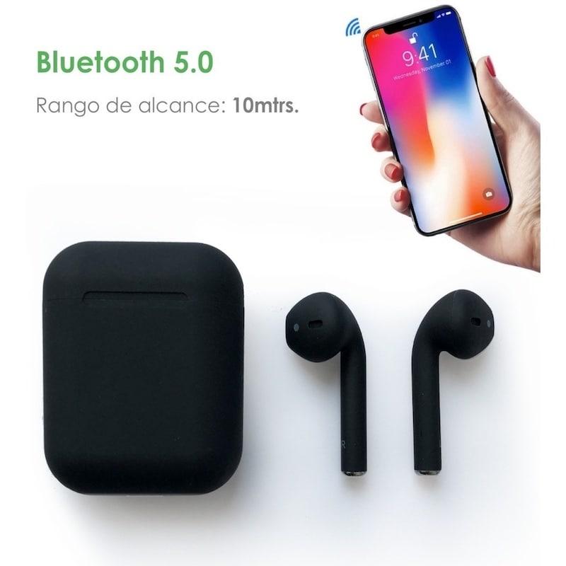 Nuevos Mini Audifonos Bluetooth i12 Tws NEGRO MATE tipo Airpods TOUCH Cargador Magnético