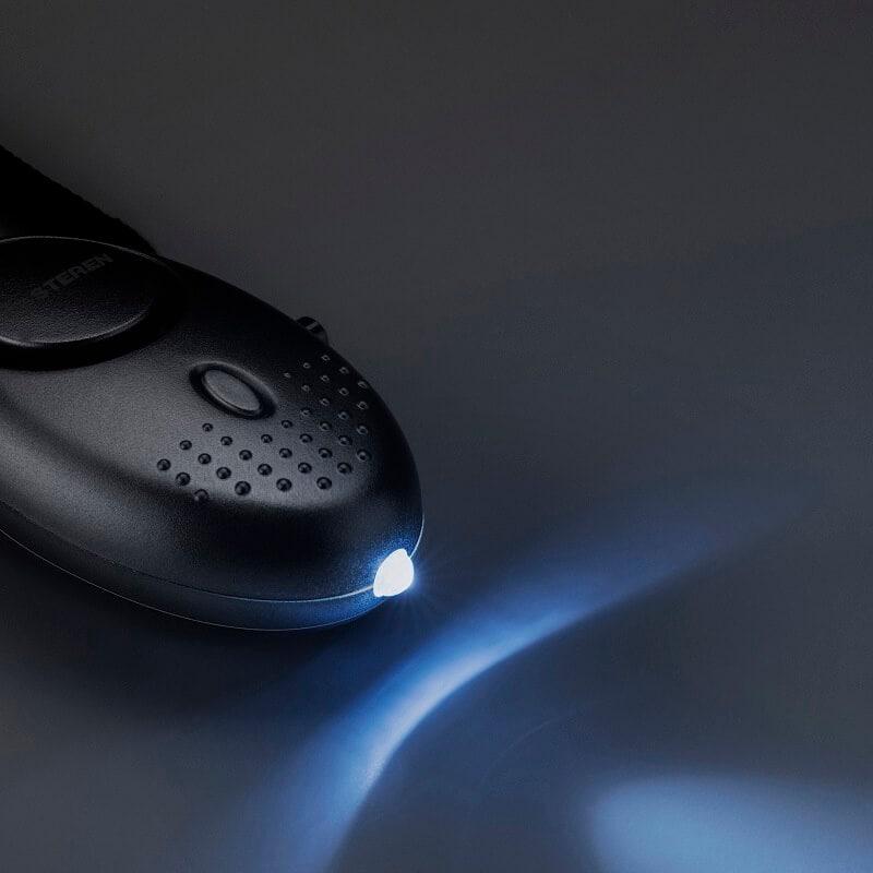 Alarma personal de 120 dB, con linterna LED color plata