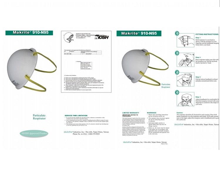 MASCARILLA CUBREBOCAS MAKRITE N95 TIPO CONCHA NIOSH FDA - PAQUETE 20 PIEZAS