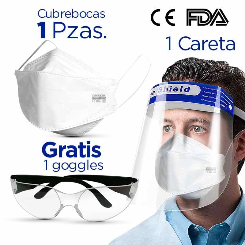 1 CUBREBOCAS  N95 KN95 UNICO EN MEXICO +1 GAFAS DE PROTECCION + 1 CARETA FACE SHIELD