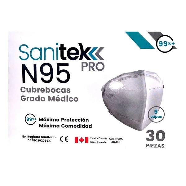 30 Cubrebocas N95 Grado Médico C/5 Capas Sanitek Pro