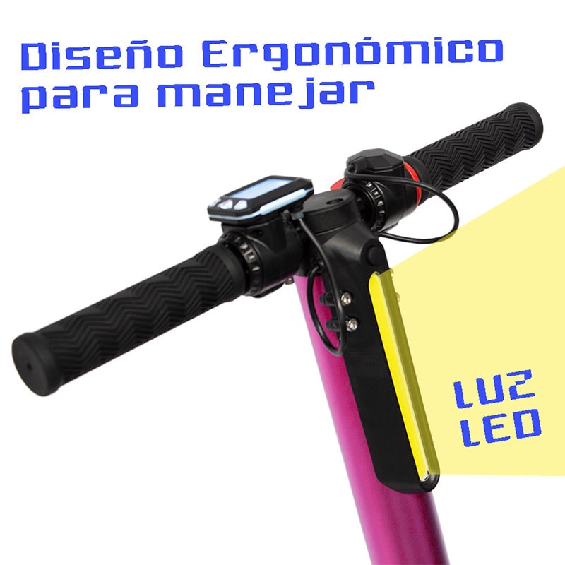 Scooter Electrico Plegable 23 km  3 Velocidades Luz Led Patin Rosa Centurfit