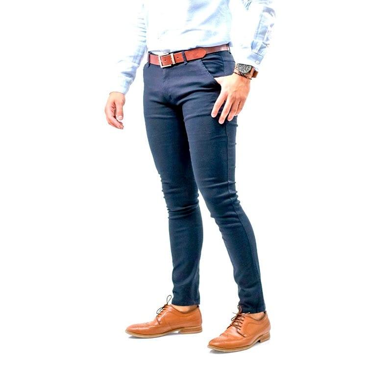 Pantalon Casual Skinny De Gabardina Para Hombre Strech