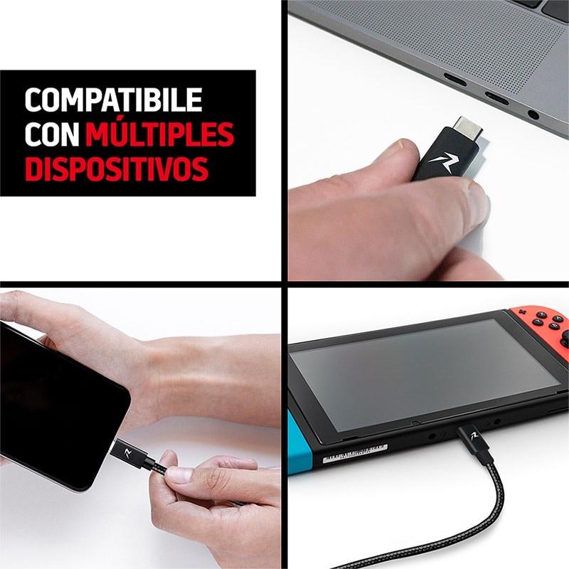 Redlemon Cable USB Tipo C 3 Metros Nylon Resistente Largo