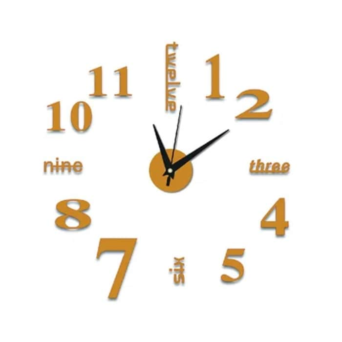 Reloj de pared 3D sin marco decorativo Dorado