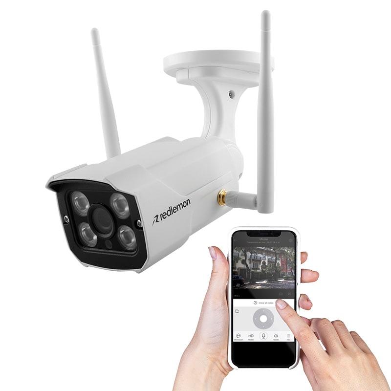 REDLEMON Cámara de Seguridad para Exteriores WiFi IP, High Definition, Contra Agua, Detección de Movimiento, Resolución 1280x720P