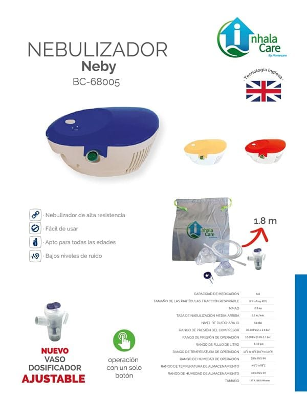 Nebulizador Neby Inhalacare Azul Silencioso Accesorios