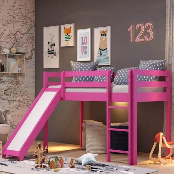 Cama Resbaladilla Infantil de madera mod. rosa