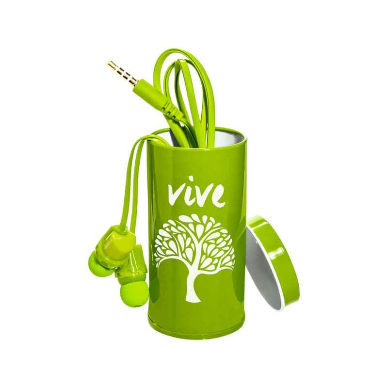 Steren Audífonos manos libres con estuche metálico y frases Verde