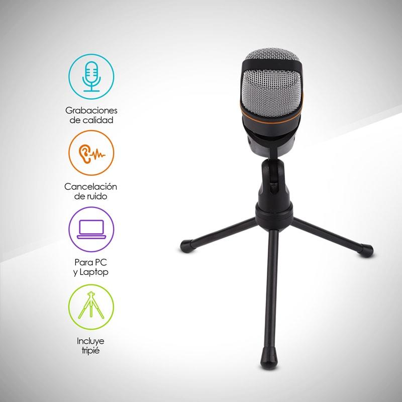 Redlemon Micrófono Condensador Semiprofesional con Tripié, Conector Universal Auxiliar Plug 3.5mm, Aislamiento de Ruido, para PC y Laptop. Ideal para Videoconferencias, Podcasts, Videoblogs y más