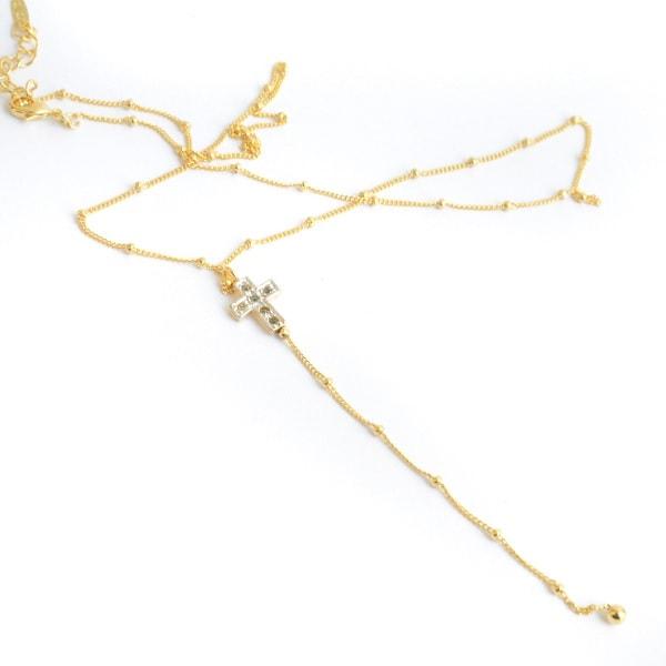 Collar Corbatita Cruz-Baño Oro 18k