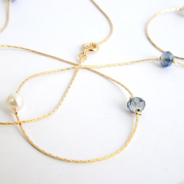 Collar Azul Noche-Baño Oro 18k