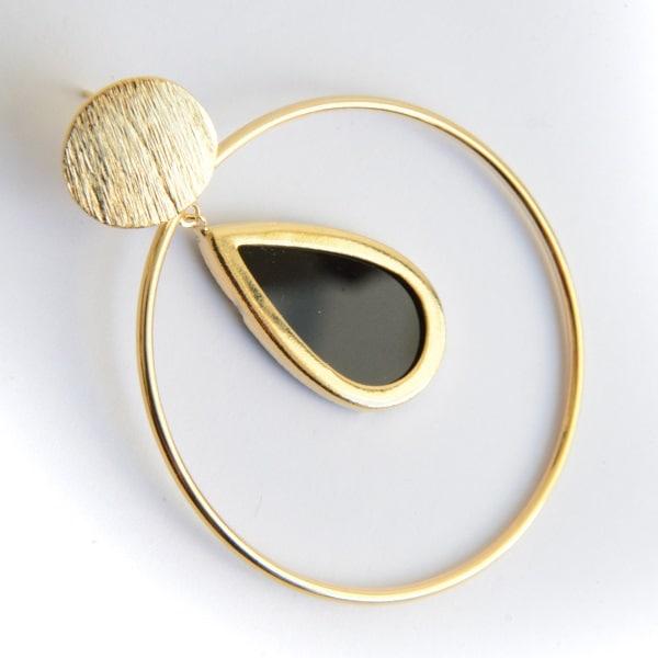 Arete Gota Negra-Baño Oro 18k
