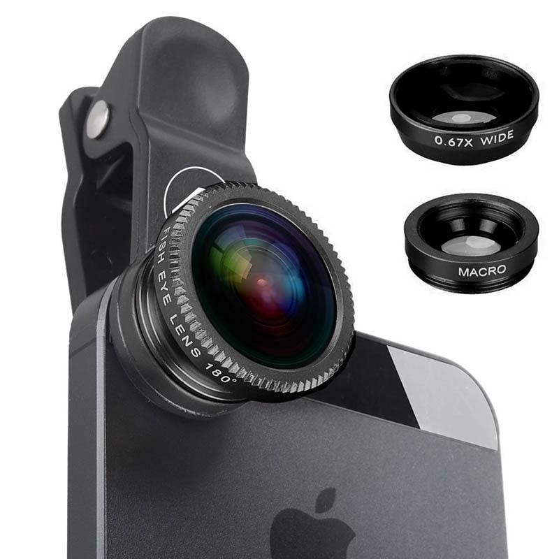 c85d4c17f17 Kit de lentes para celular 3 en 1, lente macro, fisheye (ojo de pez ...