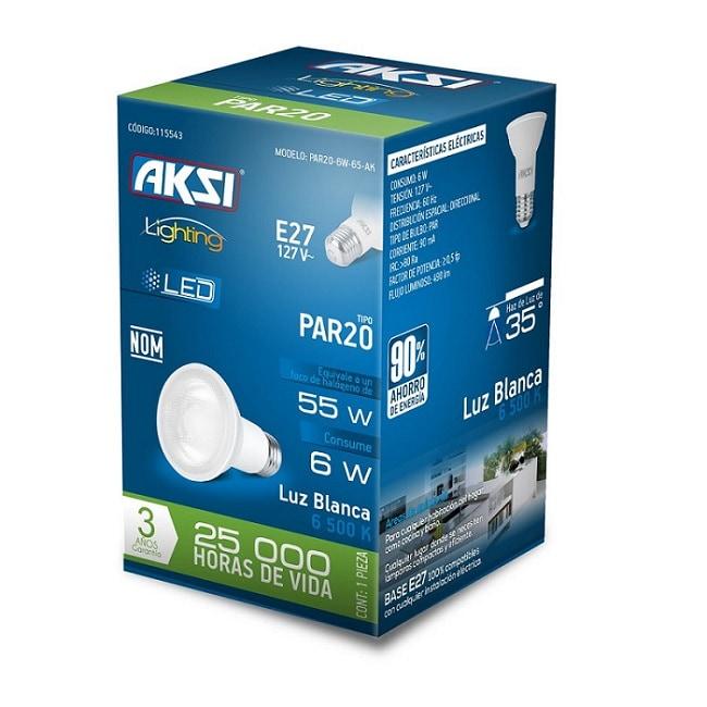 Foco LED PAR20 Aksi 6W (Ilumina 55W)-Luz Blanca