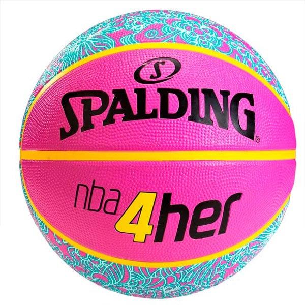 BALON BASQUETBOL SPALDING NBA 4HER PATTERN ROSA HULE #6