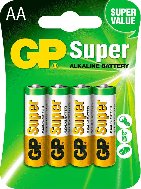Pilas GP Batteries Alcalinas blister con  Cuatro pilas AA 1.5v