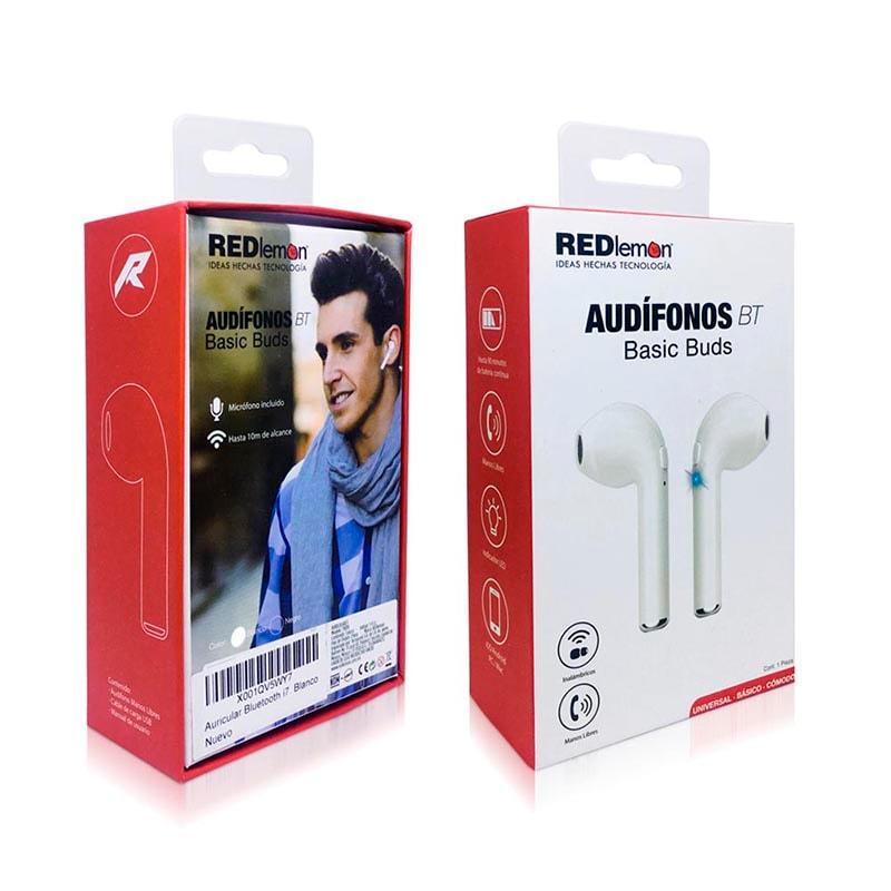 Redlemon Audífonos y Manos Libres Inalámbricos Bluetooth Básicos con Micrófono tipo Airpods, i7