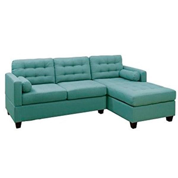 Sofá Seccional de 2 piezas, F7571 color Azul Claro, POUNDEX