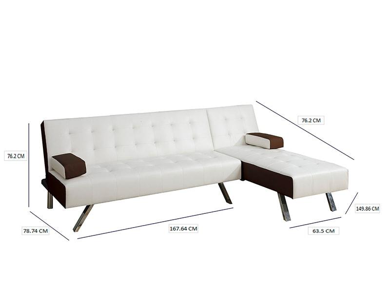 Sofá Ajustable de 2 piezas,  F7887 Blanco con detalles café, POUNDEX