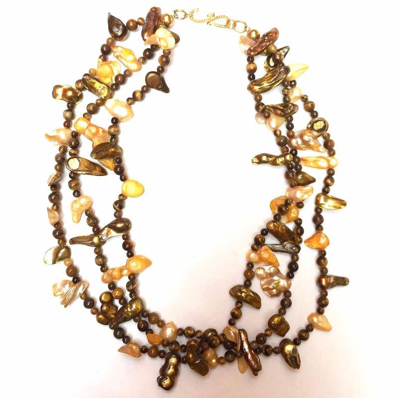 27f377e9d72f Collar artesanal de perla de r o y ojo de tigre