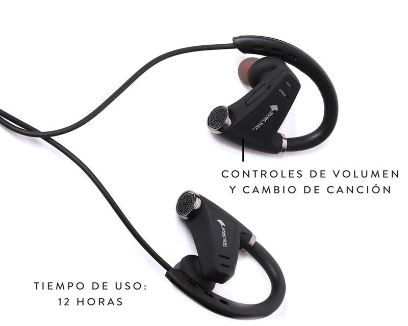 Audifono Deportivo Funcion A2DP Llamadas Se conecta con dos aparatos al mismo tiempo control de volumen y canciones Negro Sync Ray