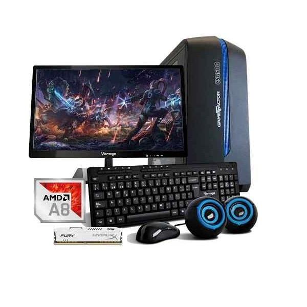 Computadora Pc Cpu Gamer Amd A8 Radeon 1tb 8gb Monitor 80+