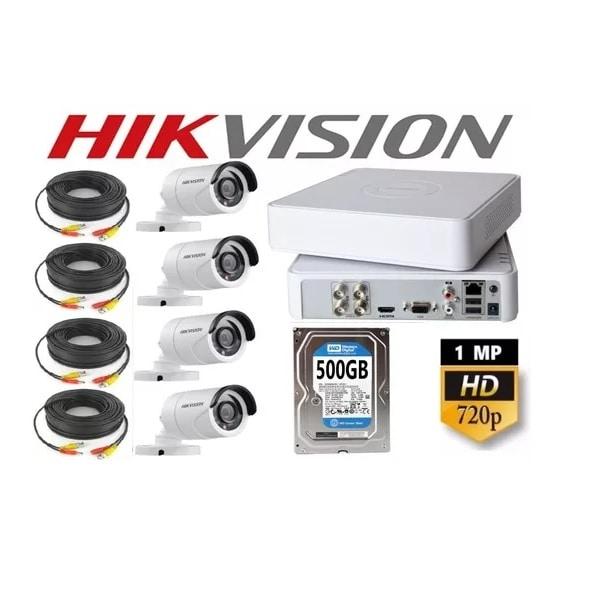 Kit Video Vigilancia 4 Cámaras Hd 720p / 1mp Hikvision 500gb