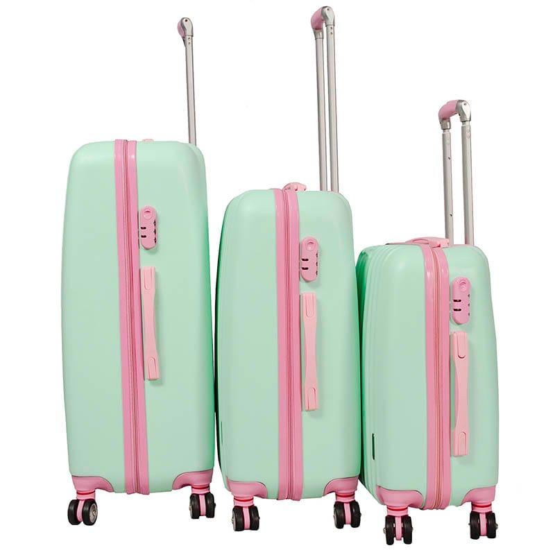 "Maleta Rigida Set 3 Maletas Verde Rosa Pastel 8 Ruedas 20"" 24"" 28"""