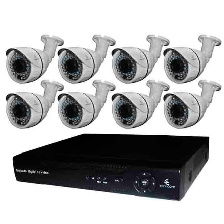 Kit Cctv Video Vigilancia 8 Cámaras IP HD 720p 1 Megapixel NVR Seguridad Circuito Cerrado