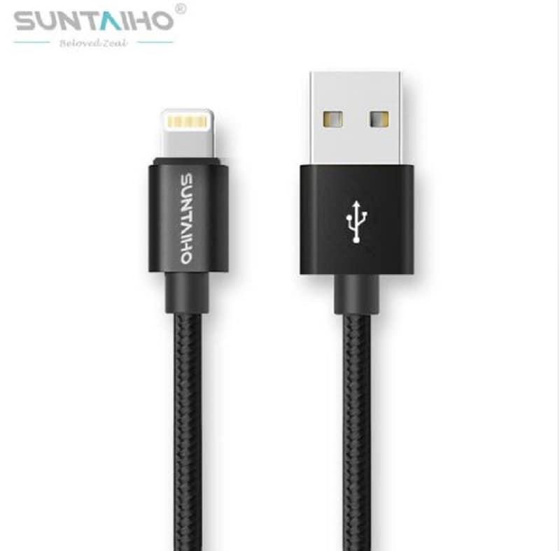 PACK DE 3 PIEZAS -- Cable Iphone Lightning de Nylon Trenzado para cargador USB (negro 1m)