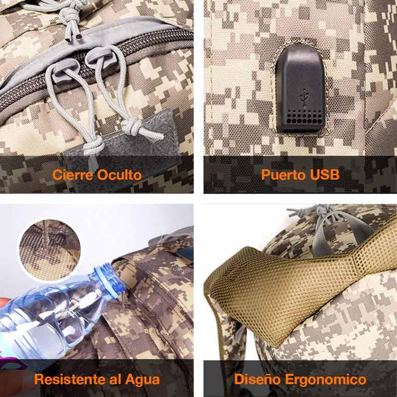 Redlemon Mochila Militar con Dise?o de Camuflaje, Impermeable, con Puerto USB para Power Bank