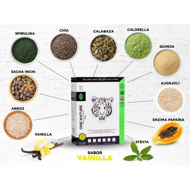 One Nature 1.3Kg Proteina Vegana En Polvo Certificada 100% Vegetal - Vainilla